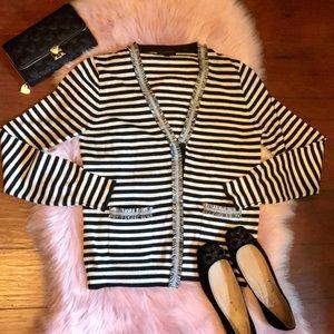 J. Crew Black and White Striped Blazer Fringe Hem